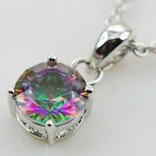 Concave Cut Rainbow Topaz 925 Sterling Silver Gemstone Pendant ATPP28