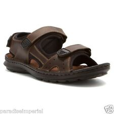 Clarks Men's Strap Adjustable Sandal Swing Away Brown Leather # 65907