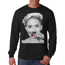 Sexy Miley Cyrus Mustache Finger Red Lips Funny Long Sleeve T Shirt