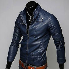 HOT MEN'S SLIM FIT PU LEATHER BIKER Motorcycle JACKET ZIP COAT OUTWEAR PVERCOAT