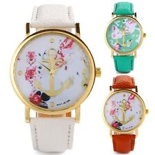 Women's Leatheroid Bracelet Peony Floral Printed Round Dial Wrist Watch Fashion