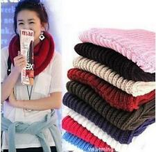 LO CA Women Winter Warm Infinity 2 Circle Cable Knit Cowl Neck Long Scarf Shawl