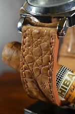 MA WATCH STRAP 26MM REAL CROCODILE LEATHER F.PANERAI HANDMADE SPAIN TABAC MAT