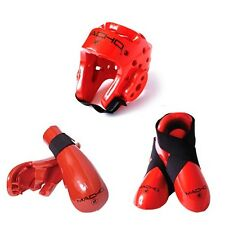 New Macho Dyna Taekwondo,Karate MMA Headgear, Hand, Foot Sparring Gear set-RED