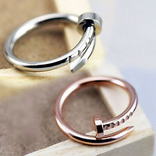 Fashion Simple Gold/Silver Alloy Nail Shape Ring Rings Women Girl Gift New