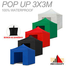 3m x 3m COMMERCIAL GRADE HEAVY DUTY POP UP GAZEBO / TENT WITH 5WALLS