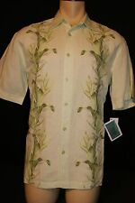 NEW CUBAVERA Linen Rayon, Embroidered Tropical Printed panel Casual Shirt