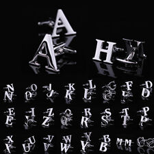 Alloy Novelty Initials Letter Stainless Steel Silver Mens Wedding Gift Cufflinks
