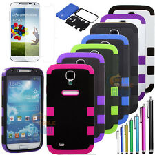 Hybrid Impact Rugged Rubber Hard Case Cover for SAMSUNG GALAXY S IV S4 i9500