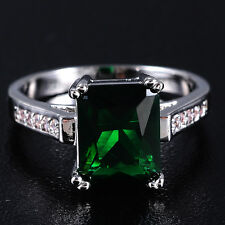 Size 6-9 Jewelry Ladys 10kt White Gold Filled Square Green CZ Wedding Ring