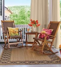 Set Of 4 Folding Wood And Resin Wicker Rockers