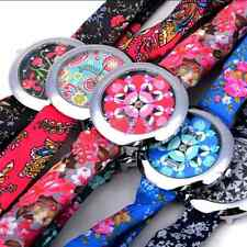 Flower Floral Cloth Fabric Band Wrist Watch For Women Ladies Dress Multi Color