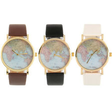 Retro Vintage Fashion Personalized Globe World Map Wrist Watch Leather Alloy Hot