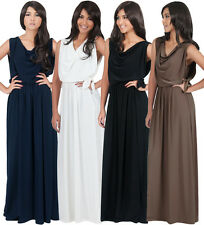 NEW Womens Elegant Cowl Neck Sleeveless Long Maxi Dress Plus Size S M L XL 2X