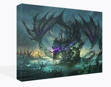 Fantasy Canvas Print Wall Art Premium Purple Dragon and Skull Picture Framed