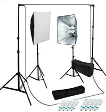 Studio 4 socket softbox video lighting kit optional white backdrop Support set