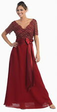 6 COLORS FORMAL OCCASION MOTHER OF BRIDE or GROOM CLASSY EVENING DRESS M - 5XL