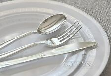 FRENCH COLLECTION WHITE SILVER  Wedding Disposable Plastic Plates & silverware-