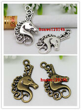 Wholesale lot 20/50pcs Retro Style Zinc alloy unicorn head charm pendant 26x15mm