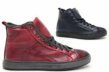 nuove sneakers uomo alte stringate model vintage pelle moda MADE IN ITALY comode