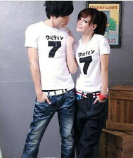 1 Set of 2 pcs Mens and Womens Cotton Sweet Couple T-shirt Tops White & Black