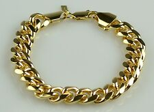 Mens Heavy 18K Yellow Gold Filled Cuban Link Bracelet
