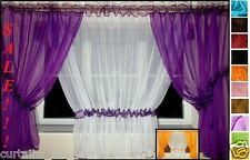 12 COLOURS! AMAZING VOILE CRINKLED NET CURTAINS VARIOUS SIZES READY MADE FORYOU