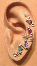 HANDMADE SS OR 14KGF WIRE WRAPPED EAR IVY FULL CUFF GENUINE AUST CRYSTALS MULTI