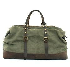"22""Men's Large Leather Canvas Lightweight Luggage Bags Weekend Overnight Duffle"