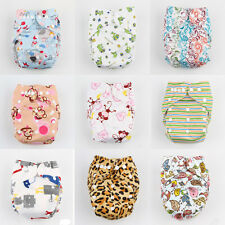 Baby Infant One Size Printed Cloth Diaper Reusable Nappy Covers Bamboo Insert CA