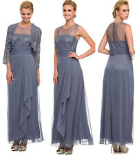 Classic Mother of Bride Groom Long Formal Gown Chiffon/Lace Wedding Event Dress