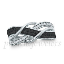 925 Sterling Silver Micro Pave Band Black White CZ Women Engagement Wedding Ring
