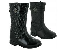 Infant Girls Quilted Patent Matt Inside Zip Mid Calf School Boots Shoes Size 6-4