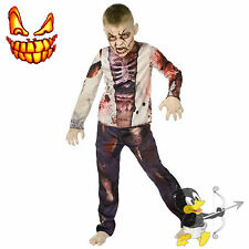 Zombie Boy 3D Fancy Dress Costume Kids Horror Skeleton Child School Undead Scary