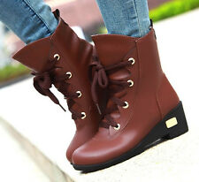 New Womens Round Toe Lace Up Wedge High Heel Nid-calf knight Boot Shoes 3 Colors