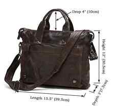 "Men's Real Leather Cowhide Business Attache Briefcase 14"" Laptop Messenger Bags"