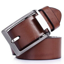 Fashion High Quality Man Leather Belt Brand Casual Waist Strap silvery Buckle