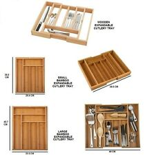 KITCHEN BAMBOO EXTENDING CUTLERY TRAY ORGANISER EXPANDABLE DRAWER STORAGE BOX
