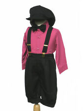 Toddler Christmas, Holiday Boy Knickers Vintage Outfit,  Fuchsia/Black, 2T,3T,4T