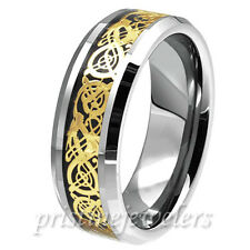 Dragon Inlay Tungsten Carbide Celtic Ring Mens Wedding Band Silver Gold New USA