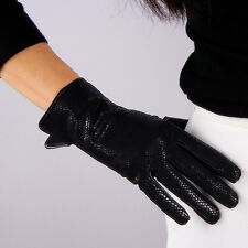 Real Leather Gloves Snake Skin Texture Wrist Long Black Genuine Lambskin Sheep