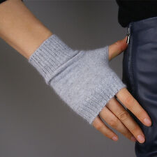 100% Cashmere Wool Fingerless Gloves Arm Warmers Mitten Brown Grey Red Purple
