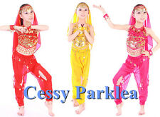 Kids Girls Belly Dance Costume Bollywood Harem Pant and Sequins Top Set S-XL