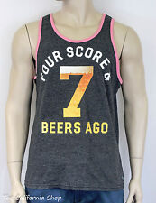 American Eagle Outfitters AEO Four Score Graphic Tank Top Mens Gray Tee New NWT