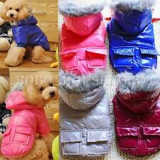 Pet Dog Cat Warm Hooded Winter Polyester Coat Two Pocket Jacket Clothes US