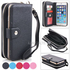 PU Leather Handbag Zipper Wallet Case +Magnetic Phone Cover For iPhone 6 6S Plus