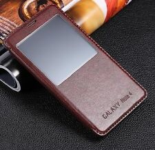 Luxury S-View Window Flip PU Leather Case Cover for Samsung Galaxy Note 4 N9100