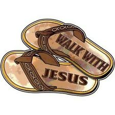 WALK WITH JESUS (SANDALS) -  NEW DECAL - BEAUTIFUL- T-SHIRT  SIZES S  - 4X