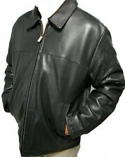 Mens Perry Ellis Genuine Leather James Dean Jacket Black Lamb Skin Car Coat S-XL