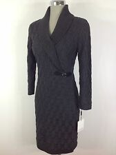 Calvin Klein NEW Cable sweater dress CHARCOAL Gray, long sleeve,shawl collar